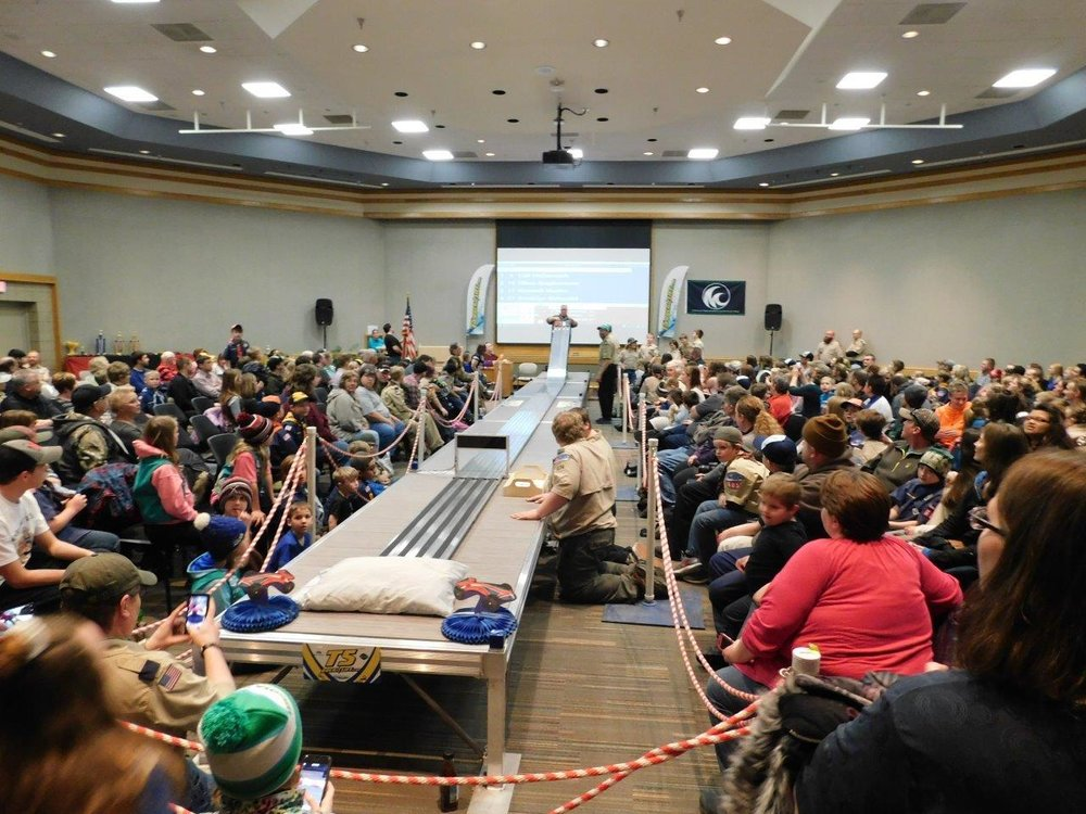 Local scouts gathered at M State last March for their annual Pinewood Derby. They were able to use a brand new, state-of-the-art track thanks to extra funds raised by Cub Scout Pack 605. (Submitted photo)