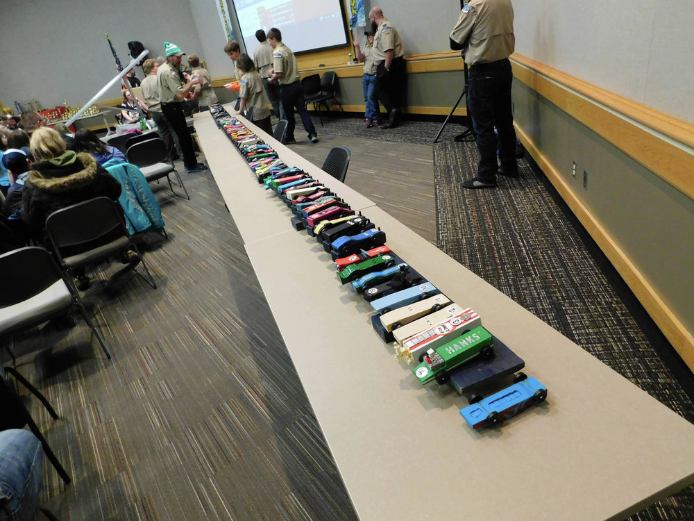 Numerous pinewood cars, designed by local Cub Scouts, lined up for the start of last year's Pinewood Derby. This year's event is set for Monday, March 4 at M State Detroit Lakes, starting at 6 p.m. (Submitted photo)