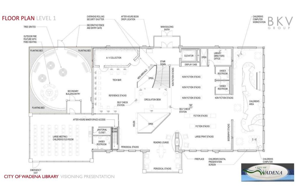 A proposed layout for the new Wadena City Library has flexibility at the forefront with rooms that can be closed off or opened for various group sizes and activities. Image courtesy BKV Group.