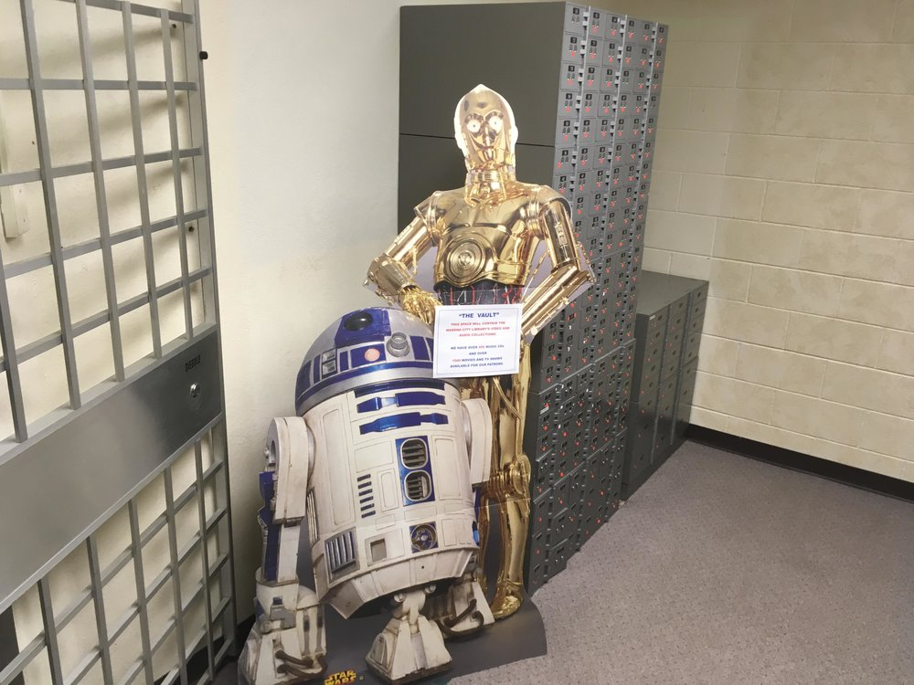 The vault at the First National Bank in Wadena would be the location of audio/visual resources. Some droids offered an explanation. Michael Johnson/Pioneer Journal
