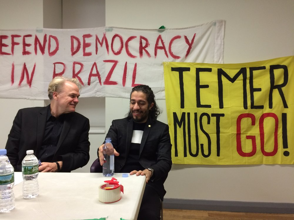 Representative Jean Wyllys (right) and Prof. James Green (Brown Univ., left) in an event organized by Defend Democracy in Brazil on 11/11/2016, at The Center in New York. Photo: Tania Cypriano for DDB-NY