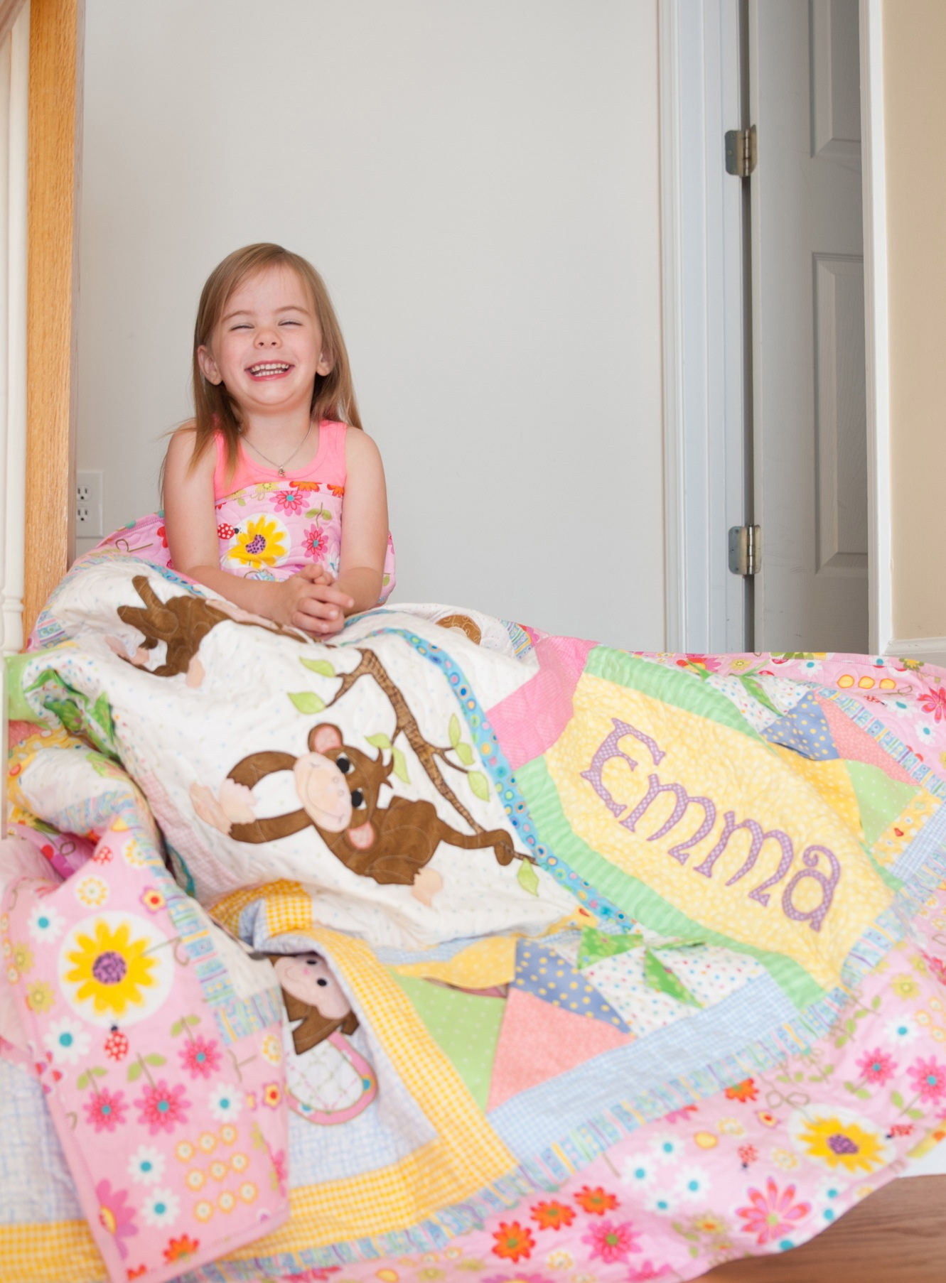 Emma and her quilt