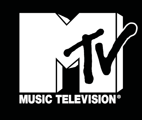 The MTV logo—a cartoon white M and the word TV overlapping it.