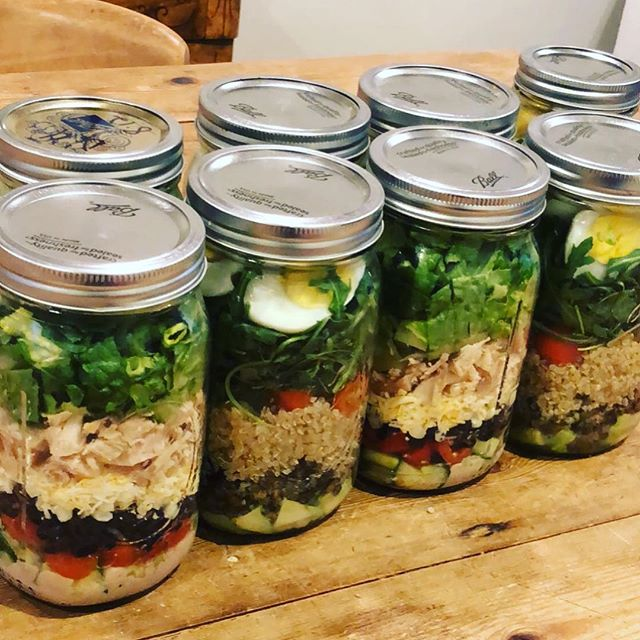 Mason jars are a great meal prep tool to ensure healthy lunches! The tight seal keeps the ingredients fresh all week.  Helpful hint: put the dressing on the bottom, far away from the lettuce on the top so that it doesn't get soggy!  Happy #wellnesswednesday everyone! What are your meal prep strategies? . . . #wellnesswednesday #asdawellness #mealprep #masonjarsalad #eatingclean #healthyeating