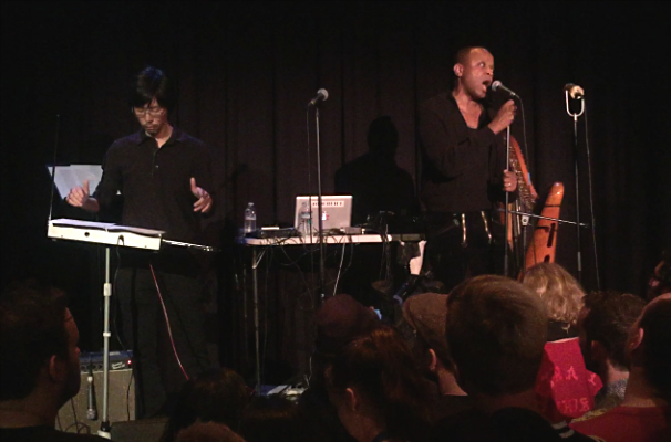 """""""Long Way Away"""" at record release party at Highways Performance Space: (l to r), Kevin Sukho Lee (theremin), Paul Outlaw (vocals), John W. Snyder (piano, just out of frame)  Photo by Katia Portillo-Valí"""
