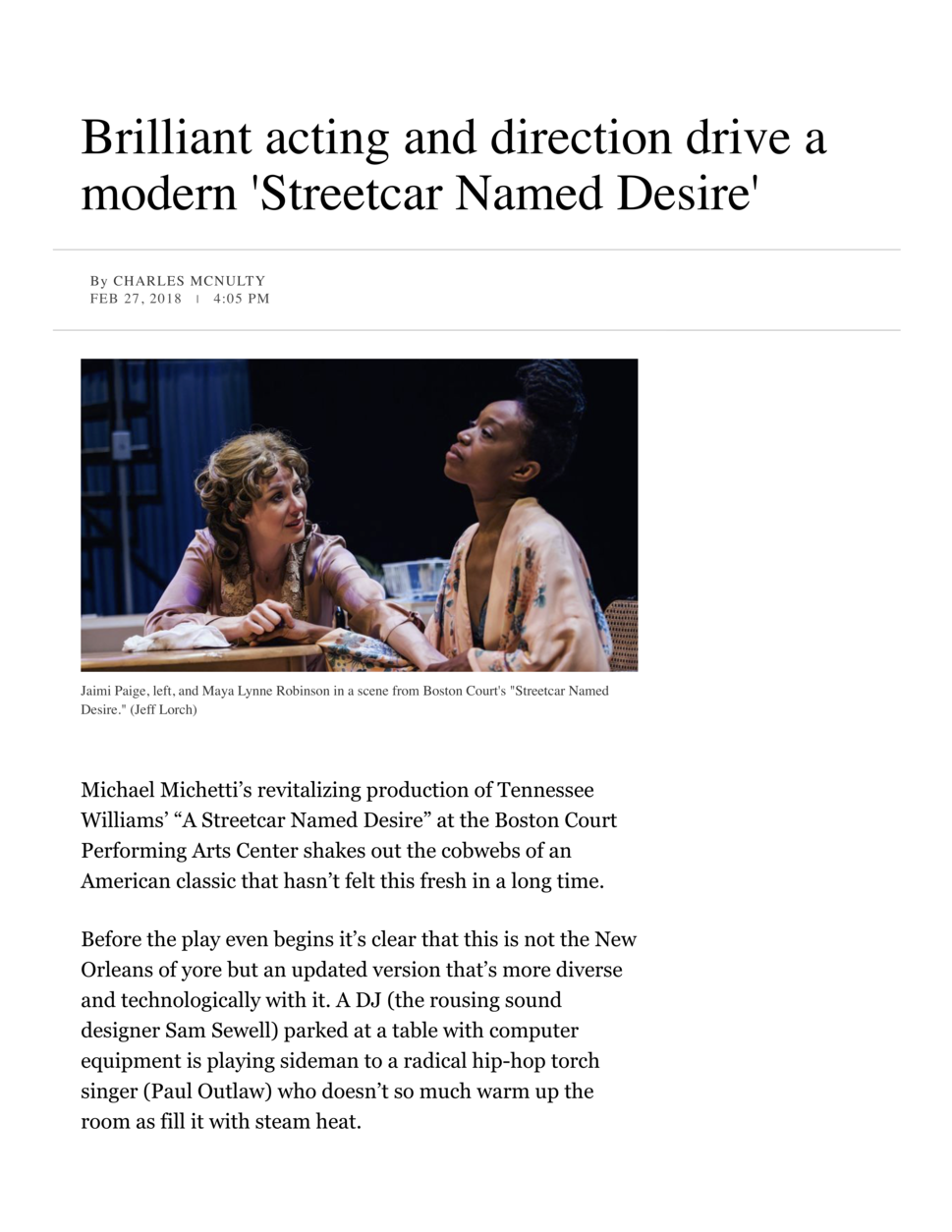 Review of Michael Michetti's production of  A Streetcar Named Desire , named one of the year's best