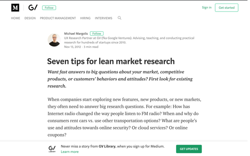 Seven Tips for Lean Market Research - Blog Post by Michael Margolis
