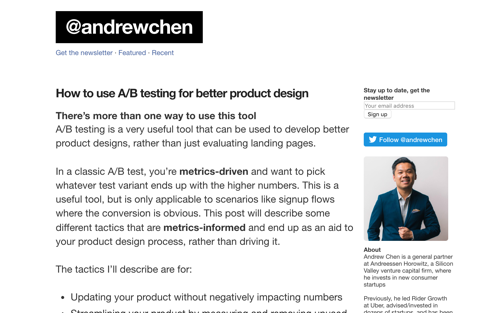 How to use A/B testing for better product design - Blog Post by Andrew Chen