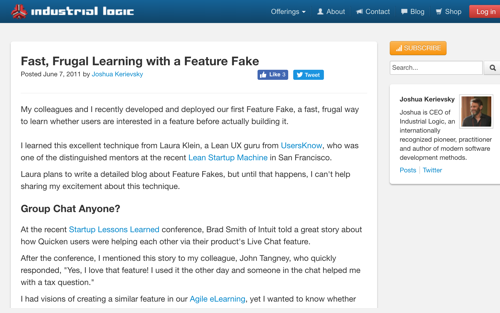 Fast, Frugal Learning with a Feature Fake - Blog Post by Joshua Kerievsky