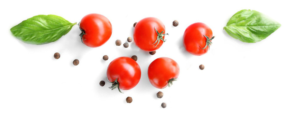 96951590-fresh-tomatoes-and-basil-leaves-on-white-background-top-view.jpg