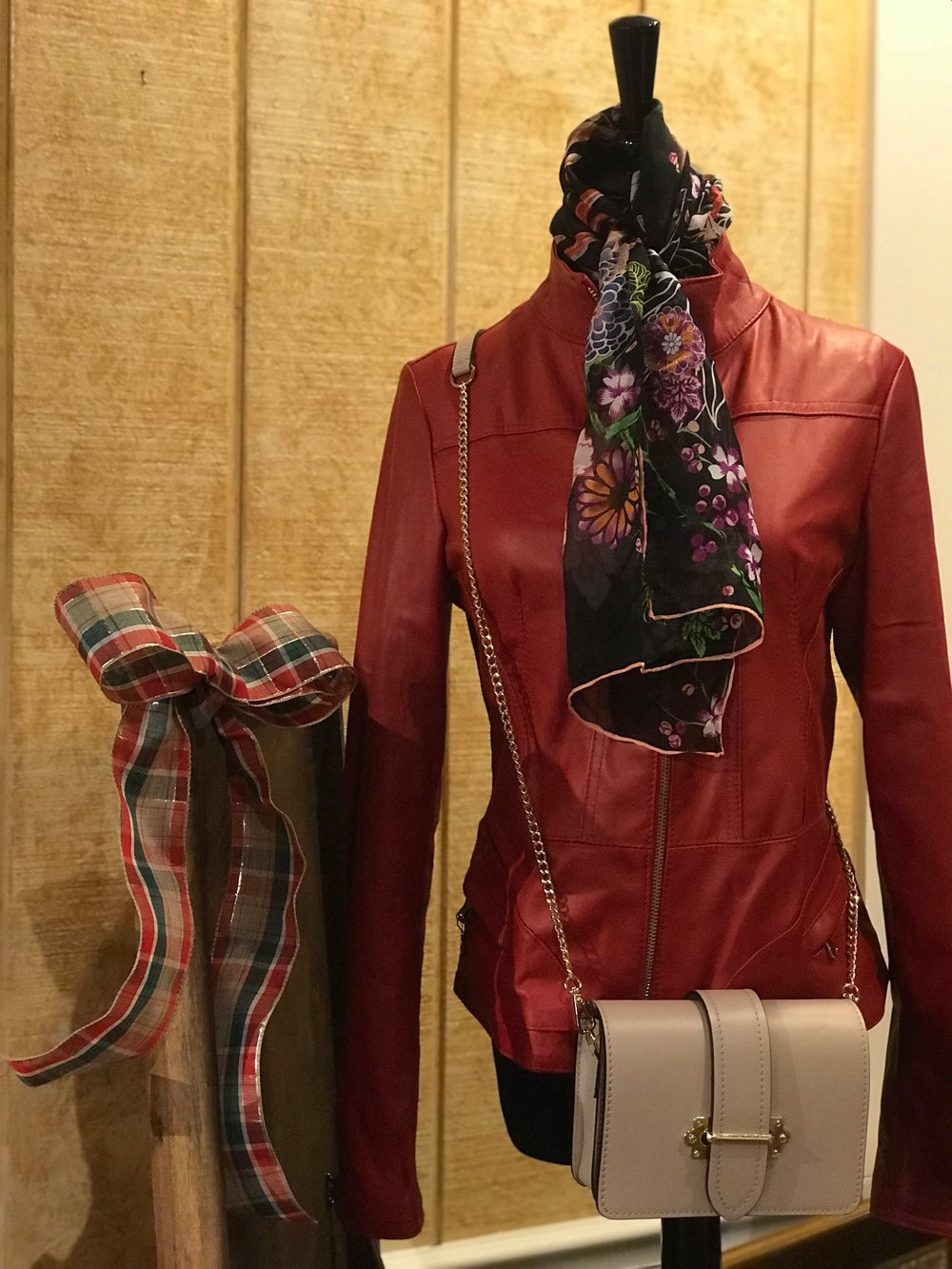 Womens Red Leather Window