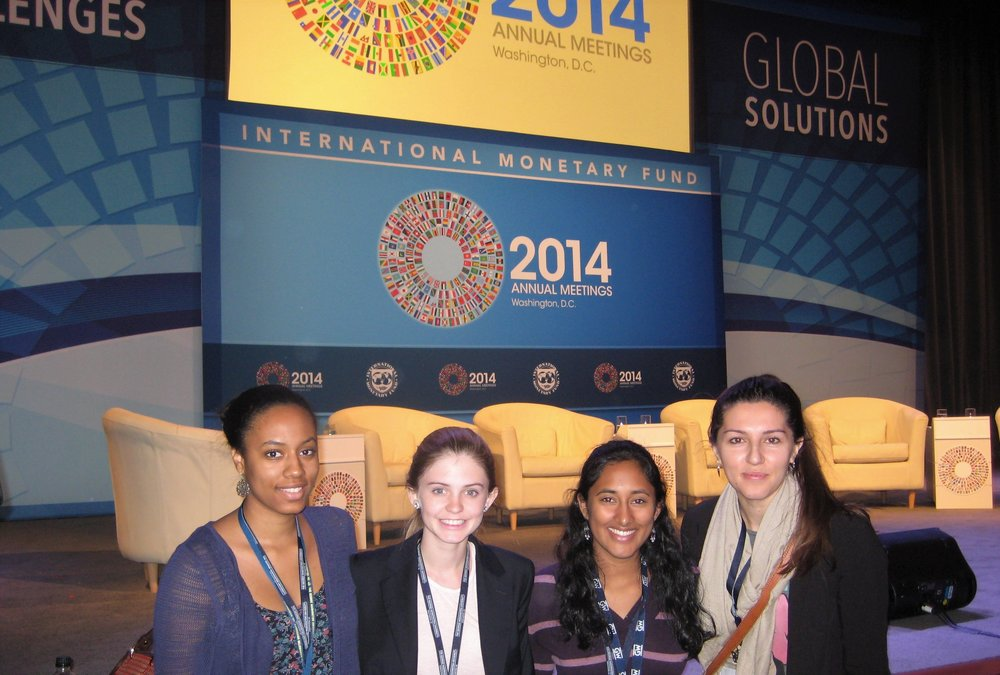 With students at the Annual Meetings of the World Bank and the International Monetary Fund  in Washington, DC.