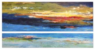 """View from Above  36"""" x 72"""" acrylic on canvas - diptych"""