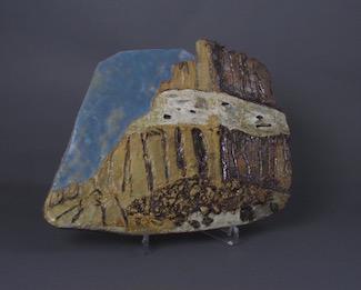 "Sandstone Bluff, high fire stoneware  10.5""h x 14""w x 1.25""d"