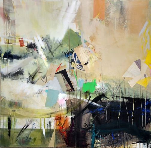"""Full Turn   mixed media collage, 40"""" x 40"""""""