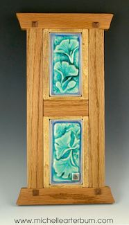 "Hand-made (Gingko) Tiles within hand-crafted oak frame. Size: 24"" h x 10"" w"