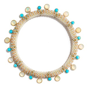 """Pools of Color Bracelet with Opal and Turquoise. 2018.    Cylindrical glass beads, opal, turquoise and 18k yellow gold, opal and turquoise beads, bezel set in 18k yellow gold. 7.5"""" (19.05cm) length, .25""""(.635cm) to .375""""(.952cm) width."""