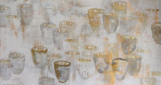 "Thirty Seven Shadow Cups with Grass, 2015     18""x30"" Ink, acrylic, seriagraph and mixed media on pape"