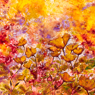 Life Among the Poppies  mixed water media