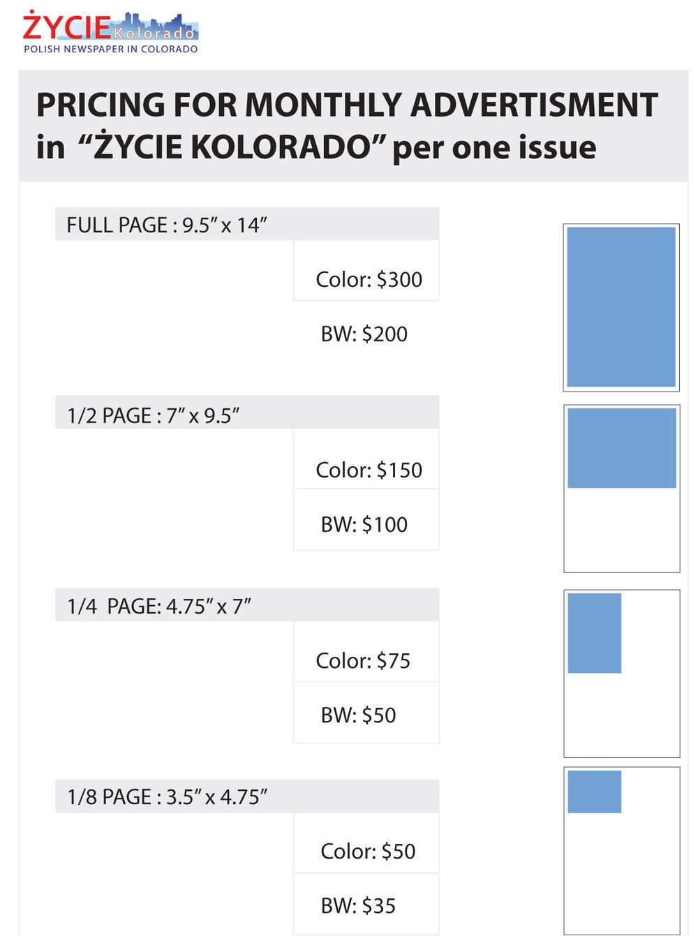 Zapraszamy do reklamy - Życie Kolorado to jedyną polskojęzyczną publikacją na Zachodzie USA. Jesteśmy bezpłatnym miesięcznikiem dostępnym na internecie i w formie papierowej. Państwa reklama w Życiu Kolorado zapewnia Wam ekspozycję na polskojęzycznych klientów.Nasze ceny są przystępne i nie zmieniły się od powstania naszego pisma w 2009 roku.Reklamując się z Życiem Kolorado promujecie Państwo swoją działalność biznesową a jednocześnie bezpośrednio wspieracie żywotność naszego pisma - za co serdecznie dziękujemy.Nie wiecie jak zacząć? Doradzimy i zaprojektujemy Waszą reklamę bezpłatnie. Państwa reklama będzie publikowana w papierowym wydaniu i dostępna on-line 24/7 oraz w wykazie naszych reklamodawców.Pytania? Prosimy o kontakt: e-mailowy lub telefoniczny.
