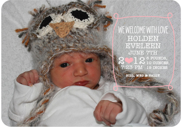 Tiny Prints Birth Announcement Owl Hat @ohbotherblog