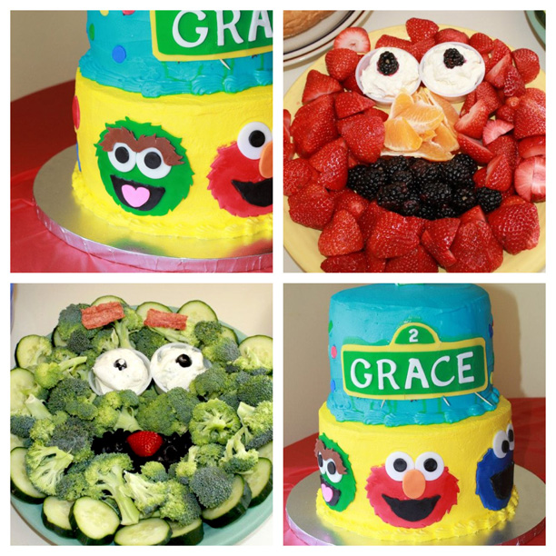 Sesame Street-themed Birthday Party. Elmo veggie tray. @ohbotherblog
