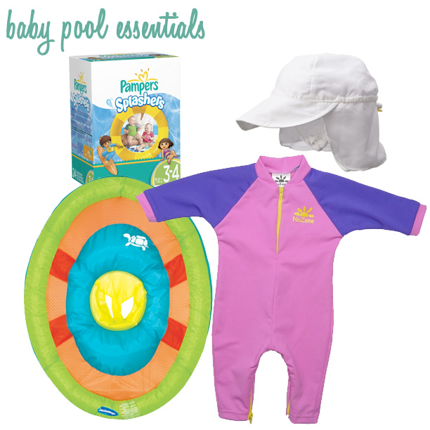 baby pool day essentials: UPF sun suit, sun flap hat, canopy sun float, swim diapers @ohbotherblog