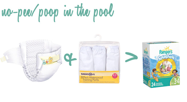 Please don't poop in the pool. Regular diapers and rubber pants work better than swim diapers for small babies.