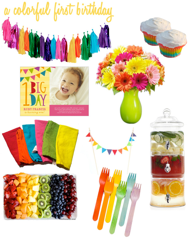 colorful birthday party idea board