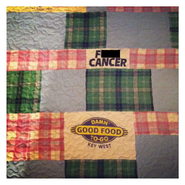 "Custom baby blanket made to honor pinner's Grandmother - ""F--- Cancer"" and ""Damn Good"" @ohbotherblog"