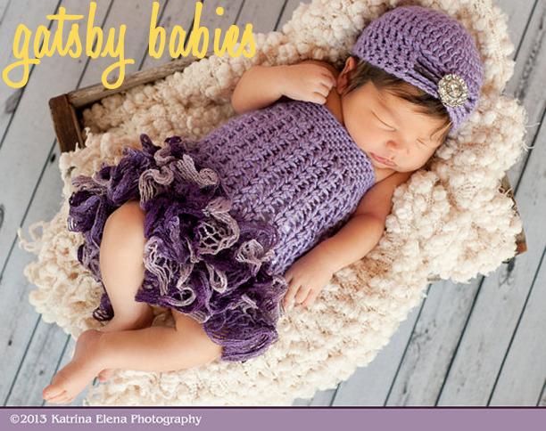 Newborn Crochet Ruffle Dress and Flapper Hat from WillowsGarden @ohbotherblog