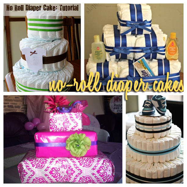 no-roll diaper cakes, folded diaper cakes