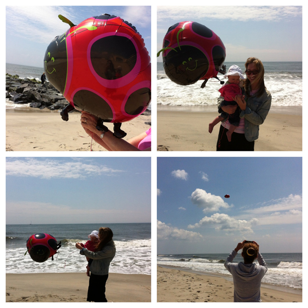 Releasing a ladybug balloon for Nanny @ohbotherblog