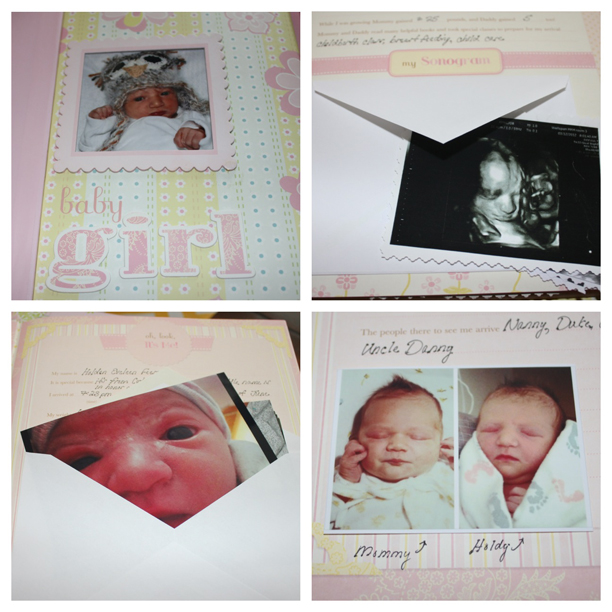 Tape envelopes, flap-out, in your baby book to store extra photos, sonograms, etc. @ohbotherblog
