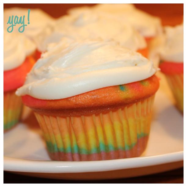 Pinterest WIN: Rainbow Cupcake @ohbotherblog