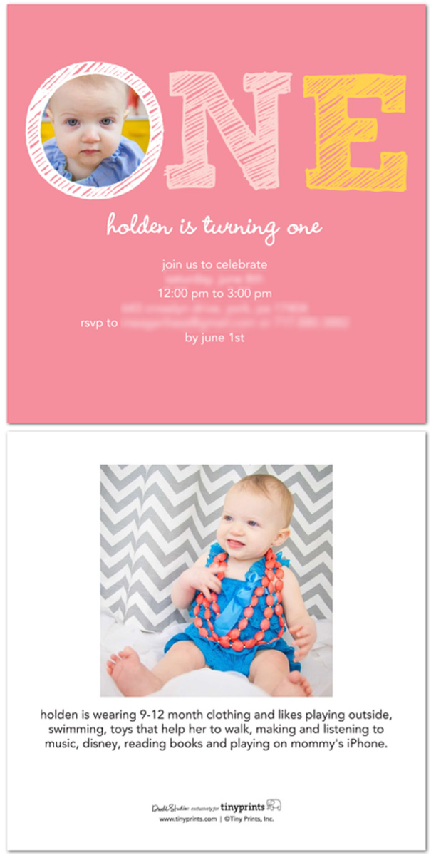 Girl's First Birthday Party Invitation - including clothing size and likes on the back to help with gift-giving @ohbotherblog