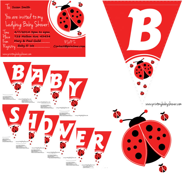Print My Baby Shower Cute Ladybug Theme