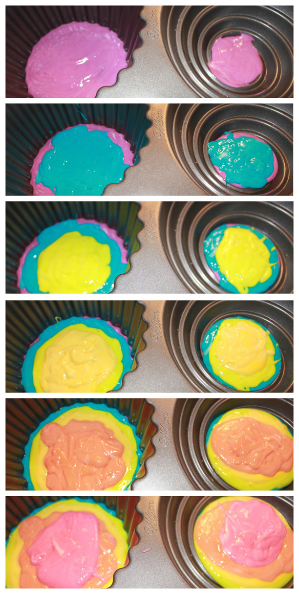 rainbow cake batter in the pan @ohbotherblog
