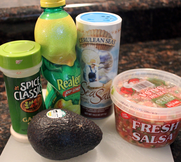 Easiest guacamole ever - avocados, fresh salsa, salt, garlic, lime juice. Leave an avocado pit in to keep it from browning! @ohbotherblog