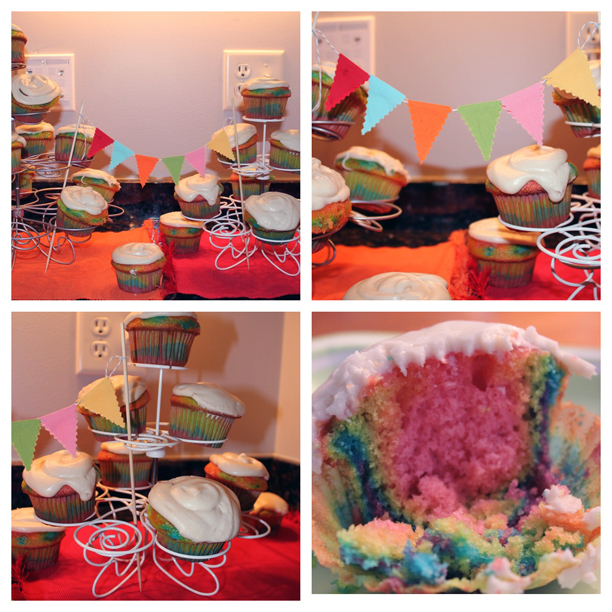 Rainbow cupcakes at a colorful first birthday party @ohbotherblog