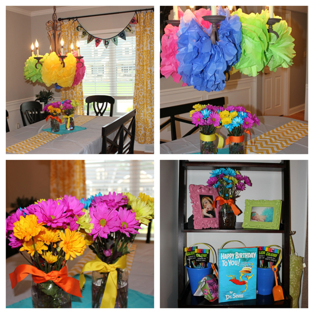 Colorful birthday party - rainbow color pompoms, bunting, colorful flowers @ohbotherblog