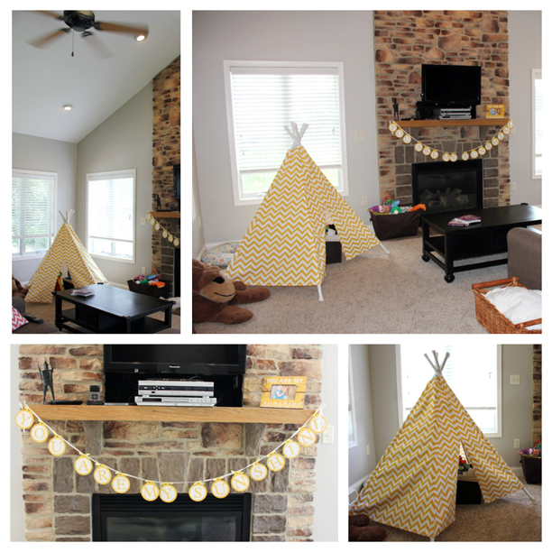 Yellow chevron teepee and bunting @ohbotherblog