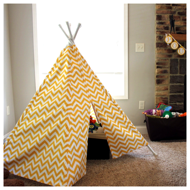 Yellow chevron teepee from Little Birds Boutique @ohbotherblog