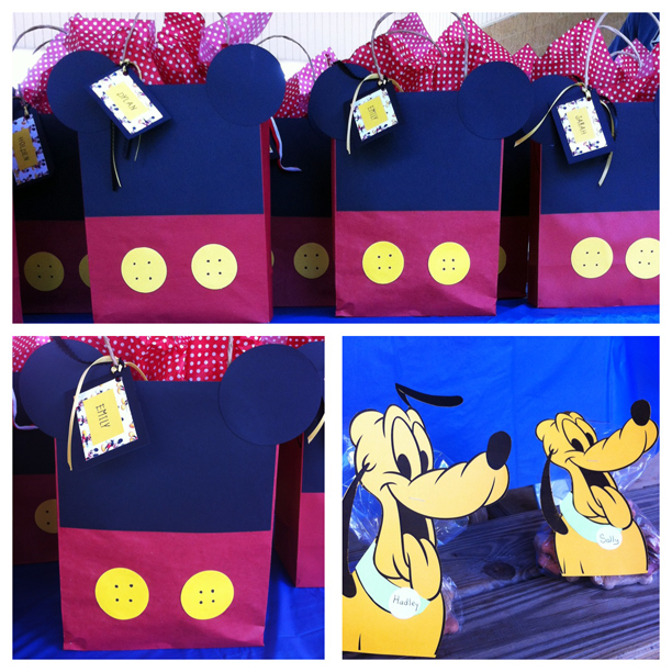 Mickey Mouse Birthday Party Mouse Ear Goody Bags. Doggie gift bags with Pluto for guests' dogs. @ohbotherblog