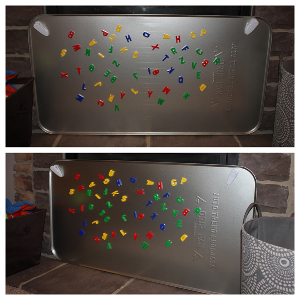 magnet board from oil drip pan from Walmart $11.97 @ohbotherblog