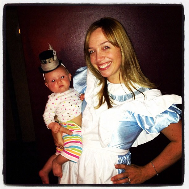Mommy Alice in Wonderland and Baby Mad Hatter Costume @ohbotherblog