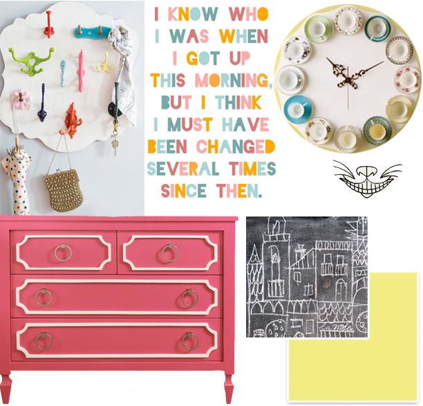 Alice in Wonderland little girls' room @ohbotherblog