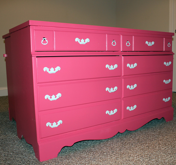 Refinished hot pink dresser for a girl's big girl room @ohbotherblog
