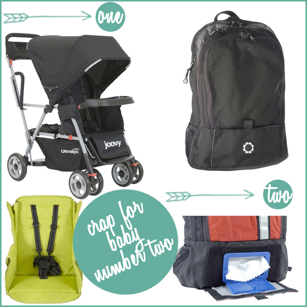 stuff for baby #2 - double stroller and backpack diaper bag @ohbotherblog