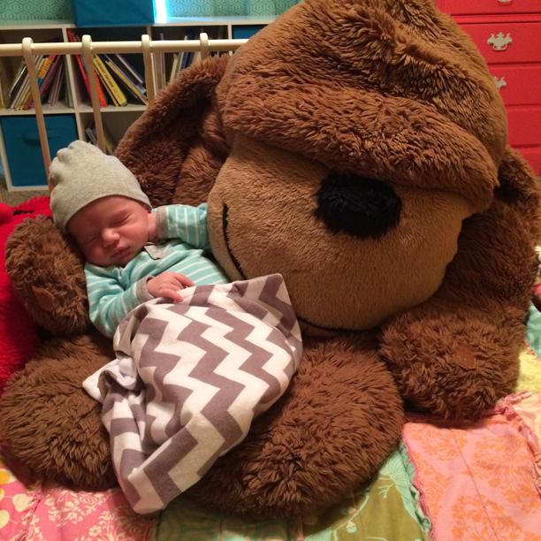Baby and monkey @ohbotherblog